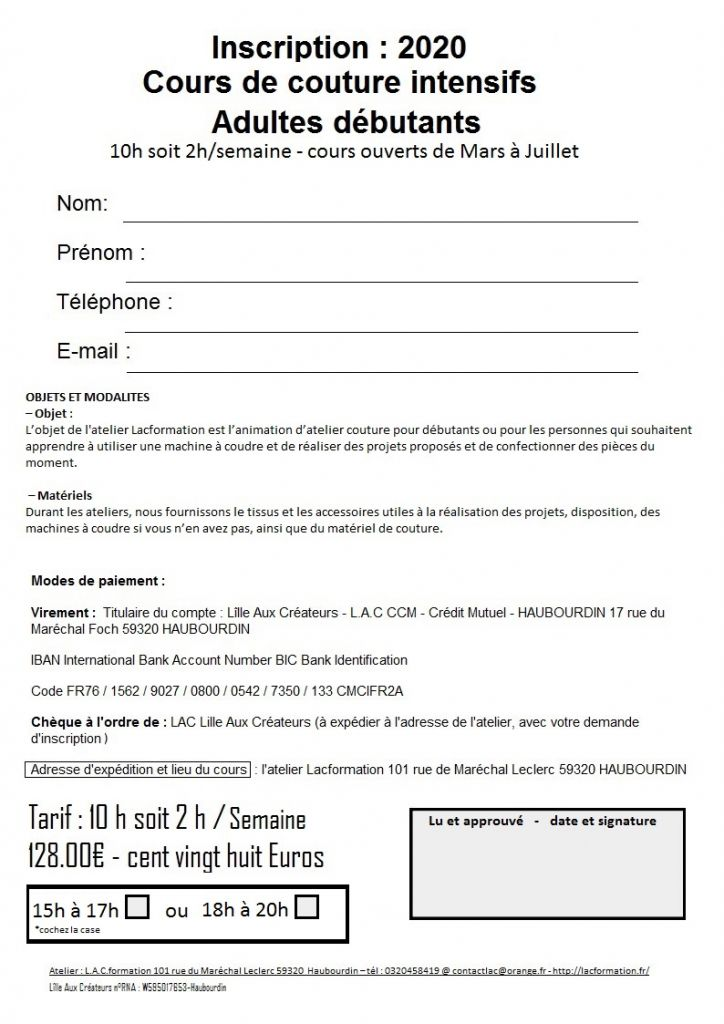 fiche LOISIRS COUTURE LACFORMATION